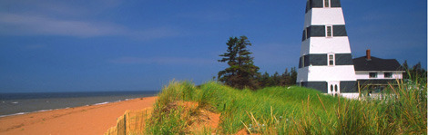 Scenic lighthouses dot the shores of idyllic Prince Edward Island