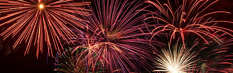 On July 4th vacations, fantastic fireworks displays brighten up the night skies