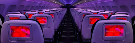 One of the many hip budget airlines to enter the market, Virgin America's planes tout sleek in-cabin design and mood lighting