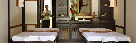 A treatment room at the Spa Village Resort Tembok Bali in Indonesia