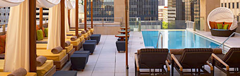 The superb rooftop pool at The Joule hotel in Dallas